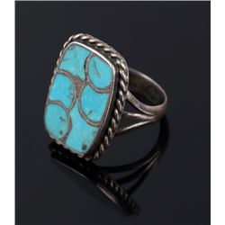Navajo Sterling Silver and Turquoise Inlay Ring