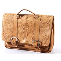 Hand Tooled Genuine Leather Satchel or Briefcase