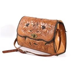 Large Hand Tooled Western Leather Purse