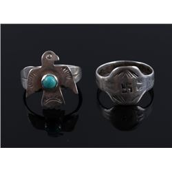 F. Harvey Thunderbird & Swirling Log Silver Rings
