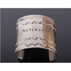 Navajo Native American Stamped Silver Cuff