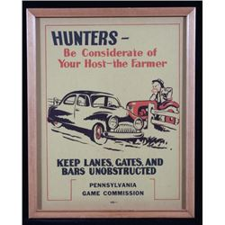 1940's Pennsylvania Game Commission Hunters Sign