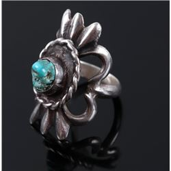 Navajo Cast Sterling & Turquoise Mountain Ring