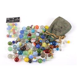Collection of Assorted Marbles and Marble Bag