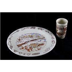 1950's Vernon Kiln Frontier Days Platter & Cup