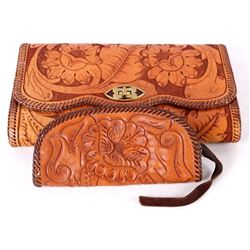 Tooled Leather Clutch and Matching Coin Purse