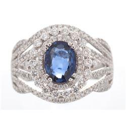 Vintage Blue Sapphire & Diamond Platinum Ring