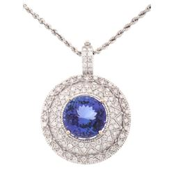 HUGE 11.23 ct. Tanzanite & Diamond 14K Necklace