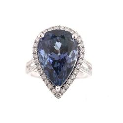 RARE Tanzanite & Diamond 14K Gold Ring w/ GIA