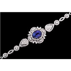 Art Deco Tanzanite & Diamond 18K Gold Bracelet