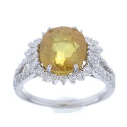 Vintage Yellow Sapphire & Diamond Platinum Ring