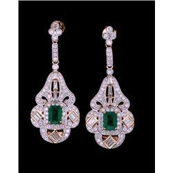 """Art Deco """"Great Gatsby"""" Emerald & Diamond Earrings"""