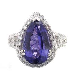 FLAWLESS Tanzanite & Diamond Platinum Ring