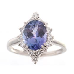 Tanzanite & VS2 Diamond Platinum Ring