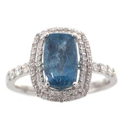 Aquamarine & VS2 Diamond Platinum Ring