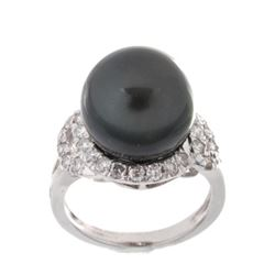 Scarce Black Tahitian Pearl Diamond Platinum Ring