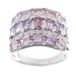 Natural Pink Sapphire & Diamond 18K Gold Ring