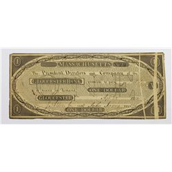 1815 $1 GLOUCESTER BANK MASS. UNIQUE