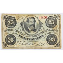 TWENTY FIVE CENT UNION SUTLER SCRIP