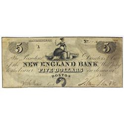 $5 NEW ENGLAND BANK