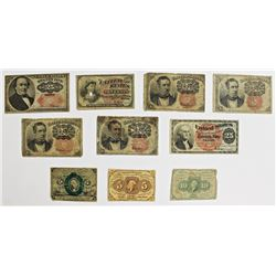 10 PCS FRACTIONAL CURRENCY