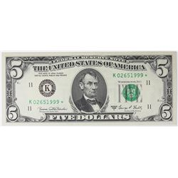 1969-C $5.00 DALLAS FEDERAL RESERVE STAR NOTE