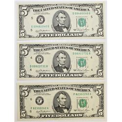 THREE 1981 $5.00 FEDERAL RESERVE NOTES