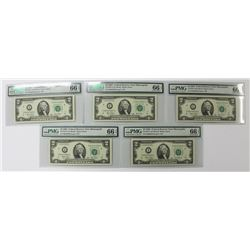5 PIECE 2003 $2.00 FEDERAL RESERVE NOTES