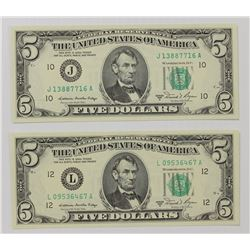 TWO 1981-A $5.00 FEDERAL RESERVE NOTES: