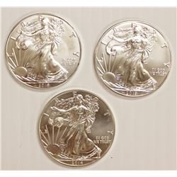 TWO 2019 AND ONE 2014 AMERICAN SILVER EAGLES