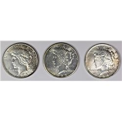 THREE PEACE DOLLARS: