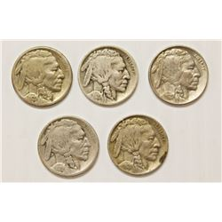FIVE BUFFALO NICKELS: