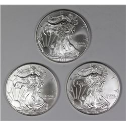 (3) 2008 AMERICAN SILVER EAGLES