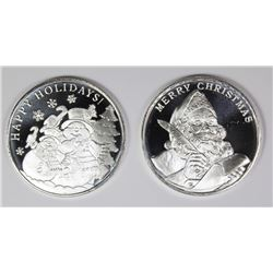 2) DIFFERENT 2019 CHRISTMAS  SILVER ROUNDS