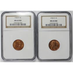 TWO 1936-S LINCOLN CENTS