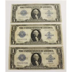 (3) 1923 $1.00 SILVER CERTIFICATES
