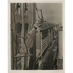 Harold Lloyd (2) death-defying stunt photographs from Feet First.
