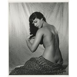 Bettie Page classic nude glamour photograph signed by Bunny Yeager.
