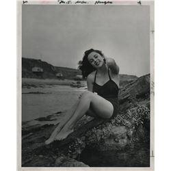 Elizabeth Taylor (2) seaside glamour photographs plus (1) color MGM roster group shot.