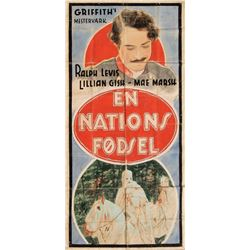 The Birth of a Nation hand-painted Danish 3-sheet.