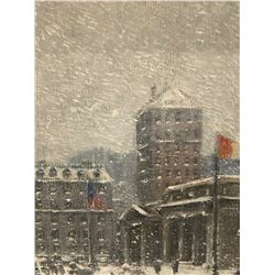 [Guy Carleton Wiggins] attributed original painting 'The Library in Winter'.