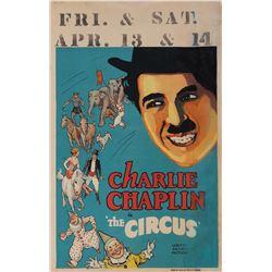 Charlie Chaplin window card for The Circus.