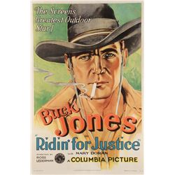 Buck Jones rare 1-sheet poster for the Pre-Code Western Ridin' for Justice.