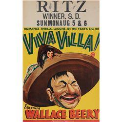 Viva Villa window card poster.