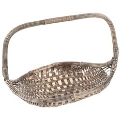 Sterling silver woven basket gifted by Tyrone Power to Darryl F. & Virginia Zanuck.