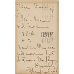 Humphrey Bogart rare handwritten signed chess moves played on set during production of Casablanca.