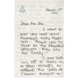 Princess Grace handwritten letter to Zsa Zsa Gabor and collection of personal photographs of Gabor.
