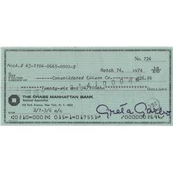 Greta Garbo signed personal bank check.