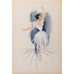 Leslie Caron 'Lise Bouvier' (2) costume sketches attributed to Plunkett for An American in Paris.