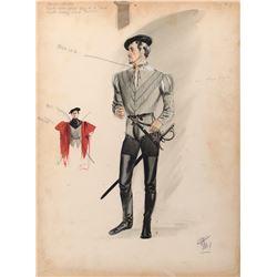 Stewart Granger 'Thomas Seymour',  Guy Rolfe 'Ned Seymour' (2) costume sketches by Walter Plunkett.